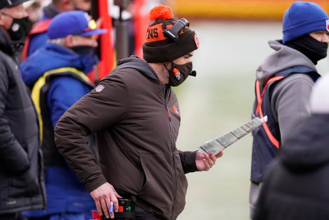 Browns coach Kevin Stefanski has been named NFL Coach of the year by the Professional Football Writers of America. [Charlie Riedel/Associated Press]