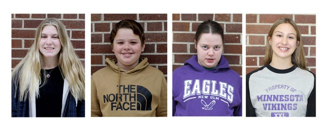 From left: Officer of the Month, Maddi Helget; Members of the Month, Nathan Rathman, Abby Ring, and Jade Sellner.