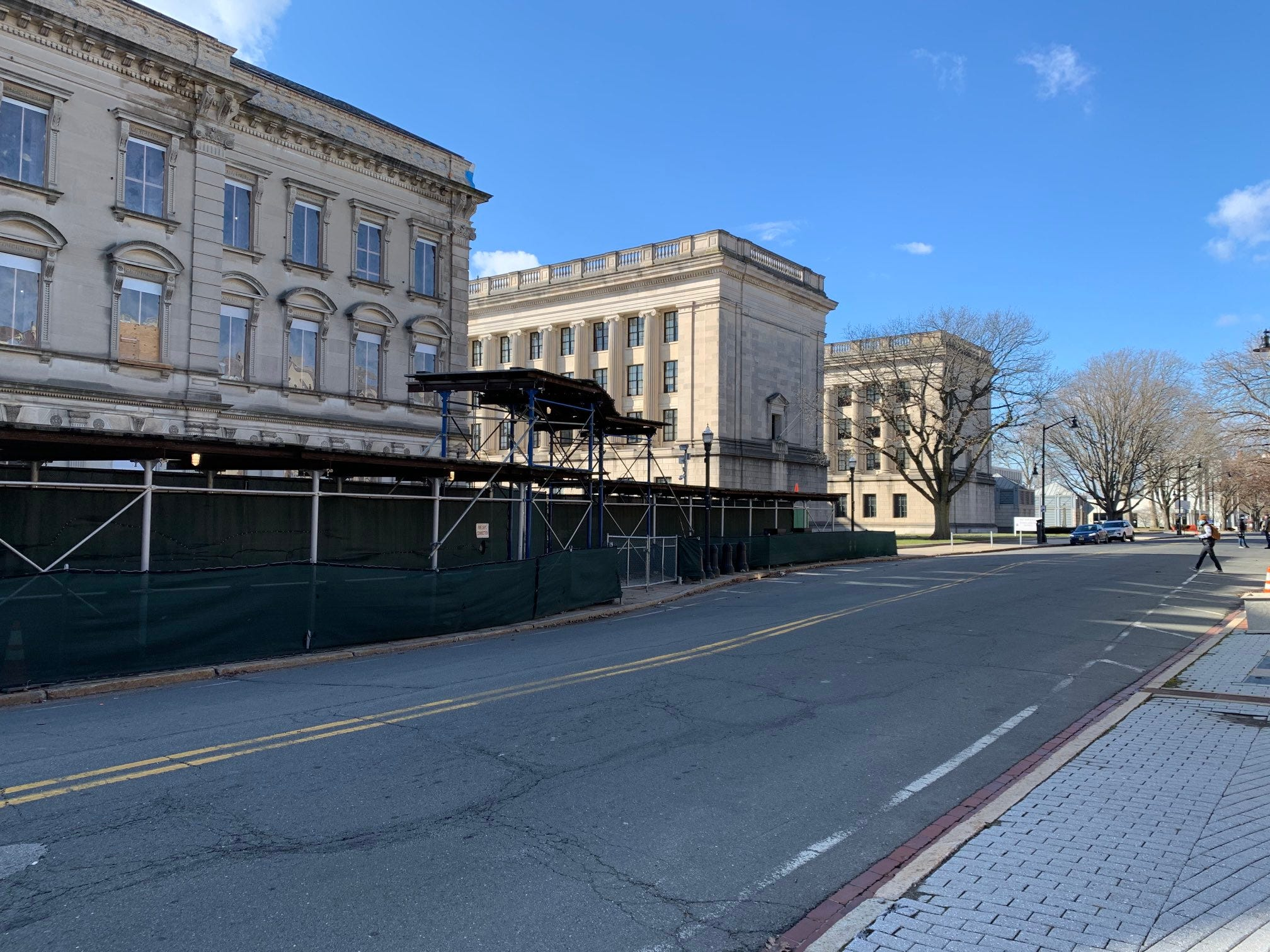 The Statehouse in Trenton was barricaded against planned protests on the morning of Sunday, Jan. 17, 2021, but the streets were empty.