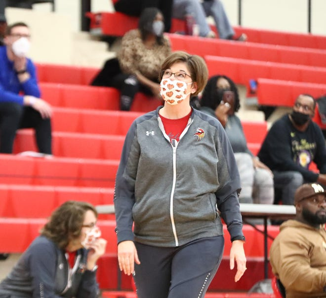 Princeton coach Jill Phillips during the game against Centerville during the Journey to the Tourney at Lakota West, Saturday, Jan. 16, 2021.