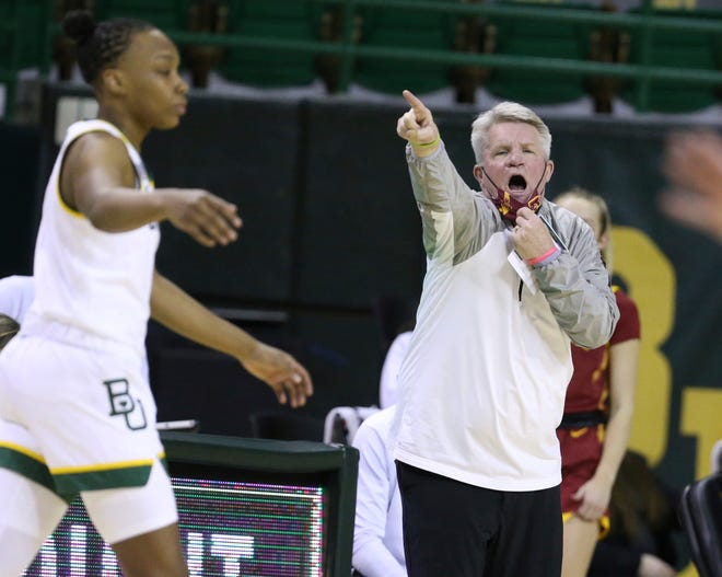 Iowa State head coach Bill Fennelly calls in a play against Baylor in the second half of an NCAA college basketball game, Saturday, Jan. 16, 2021, in Waco, Texas. (Rod Aydelotte/Waco Tribune-Herald via AP)