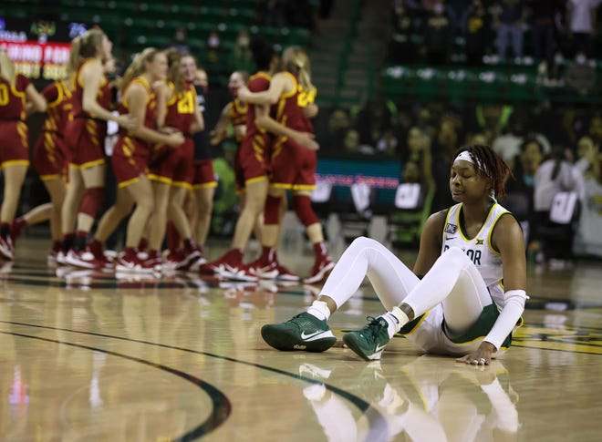 Baylor forward NaLyssa Smith, right, reacts to the LadyBears loss to Iowa State after the second half of an NCAA college basketball game, Saturday, Jan. 16, 2021, in Waco, Texas. (Rod Aydelotte/Waco Tribune-Herald via AP)