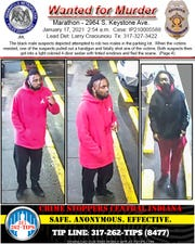 Wanted posted for suspects in Keystone Avenue shooting.
