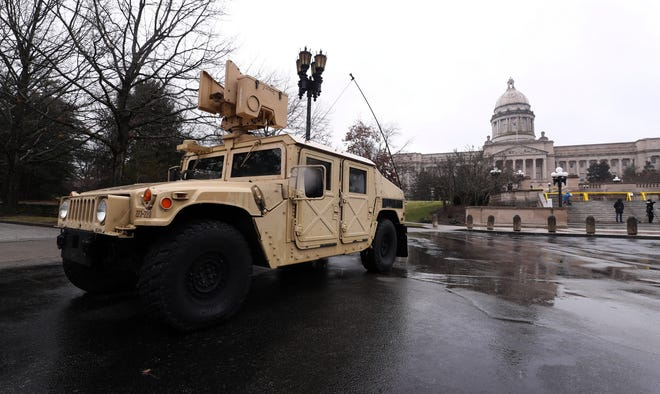 The Kentucky Army National Guard stood guard outside the Kentucky State Capitol building in Frankfort, Ky. on Jan. 17, 2021.  The Capitol grounds were closed to the public after 50 state capitols were warned that violent protests were possible following the riots in Washington, D.C.