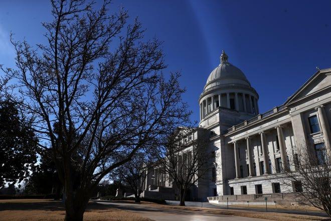 Arkansas State Capitol building in Little Rock, Ark. on Sunday, Jan. 17. 2021.
