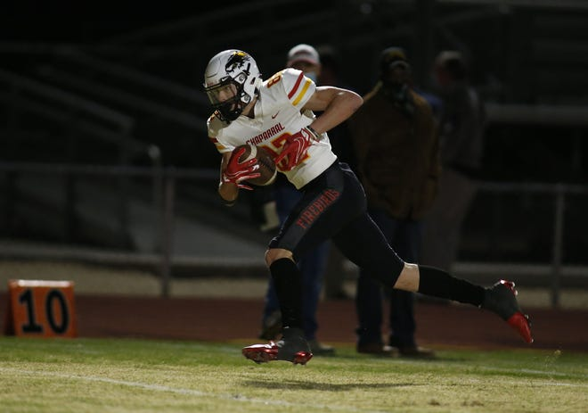 Chaparral's Max Minor (82) runs untouched for a touchdown against Sandra Day O'Connor during their 6A semi-final game in Phoenix, Friday, Dec, 4, 2020.  #3801769001