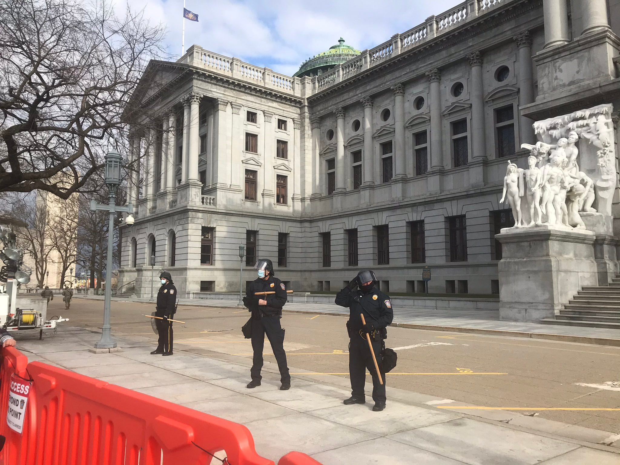 Law enforcement and a few journalists were seen outside the Pennsylvania Capitol in Harrisburg on Sunday, Jan. 17, 2021, ahead of expected pro-Trump rallies.