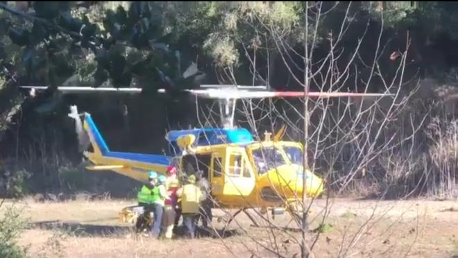 This was the scene of a motorcycle crash along Highway 150 where the victim had to be transported to the hospital via helicopter on Saturday afternoon.