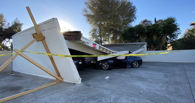 A parking structure collapsed Saturday in Ventura.