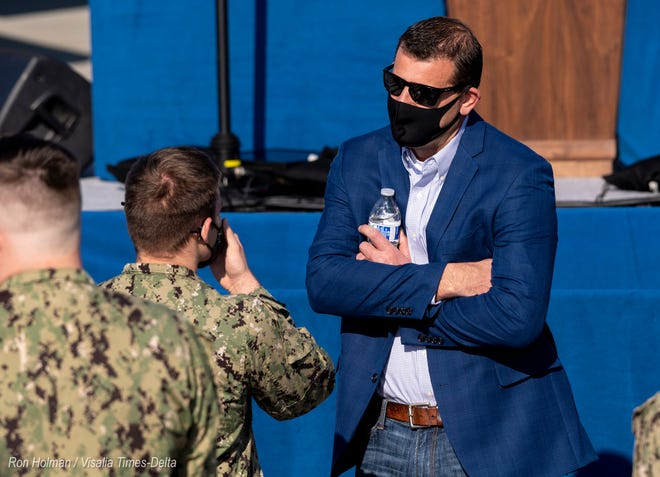 Rep. David Valadao speaks with a sailors on Saturday, January 16, 2021 while waiting for the arrival of Vice President Mike Pence at NAS Lemoore. Valadao is a Republican from Hanford.
