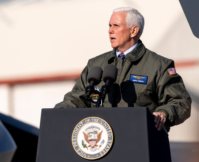 Vice President Mike Pence, speaking in front an F-35 Lightning and an F-18E Super Hornet at Naval Air Station Lemoore, thanked the U.S. Navy sailors and their families Saturday, January 16, 2021 for their ongoing commitment to protect the nation. Pence was accompanied by his wife, Second Lady Karen Pence, who spoke at a separate event nearby.Pence spoke for about 20 minutes to about 100 uniformed sailors on one of his last official stops.
