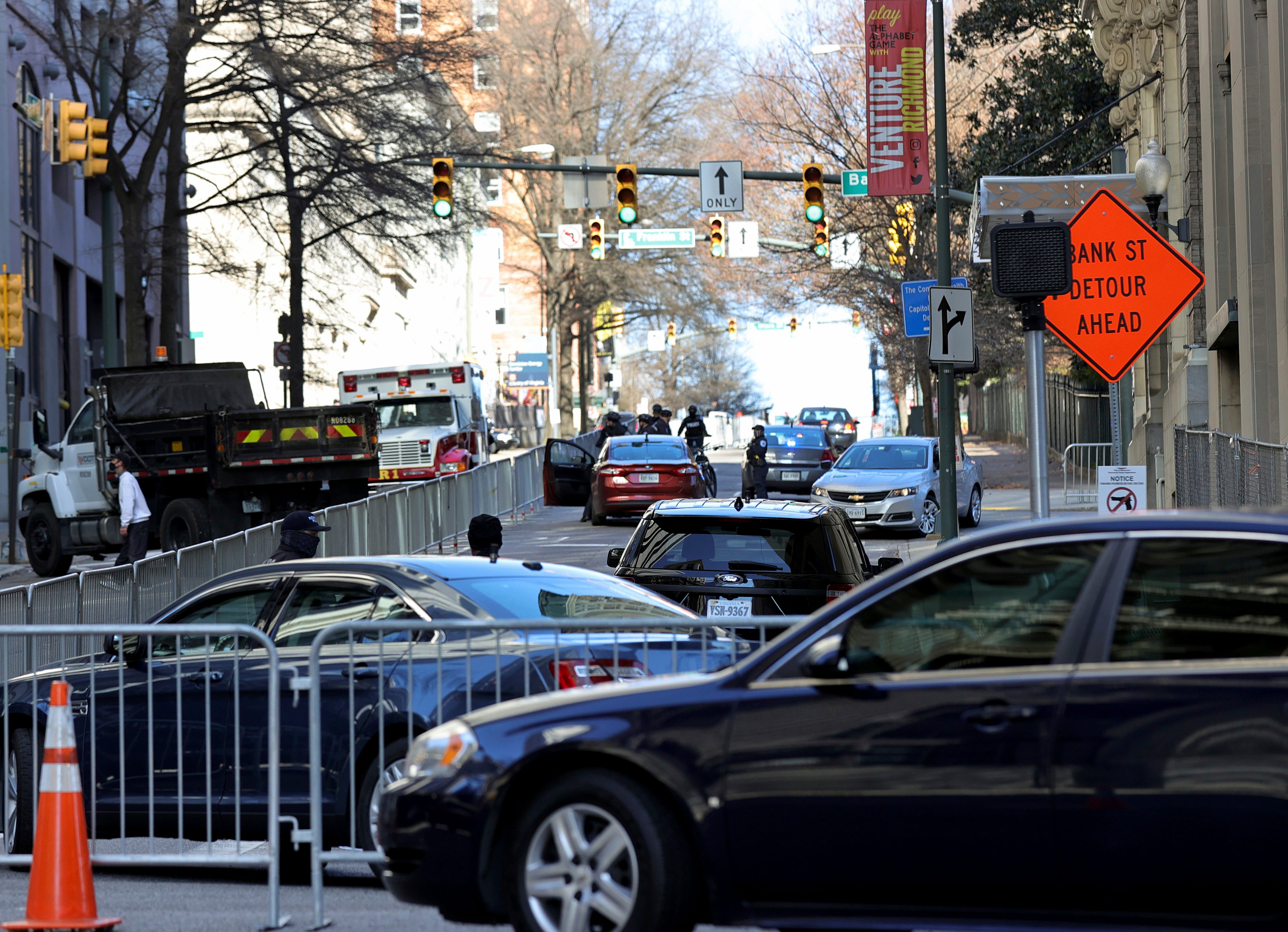 9th Street near Virginia State Capitol is closed to traffic ahead of potential threats in Richmond, Va., on Sunday, Jan. 17, 2021.
