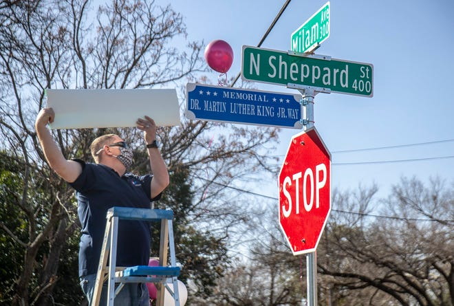 A small group of people gathered outside of St. Paul African Methodist Episcopal Church in Round Rock for a ceremony in downtown Round Rock where Sheppard re-named the Street will get the honorary name of Dr. Martin Luther King Jr. Saturday, January 16, 2021.