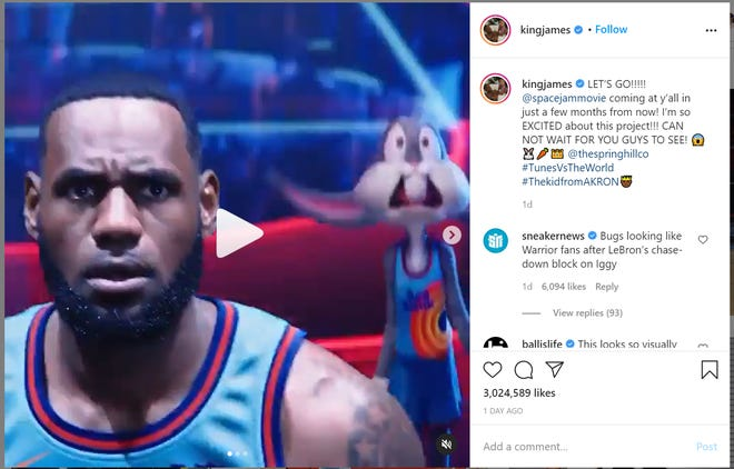 """Akron native LeBron James released a short video excerpt from his new movie """"Space Jam: A New Legacy"""" that is slated to be released in July."""