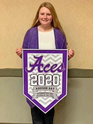 Addison Ray, a member of the Mid-Missouri Aces softball team, was named MVP Offensive Player of the Year and Pitcher of the Year on Jan. 10 at the team's annual banquet.
