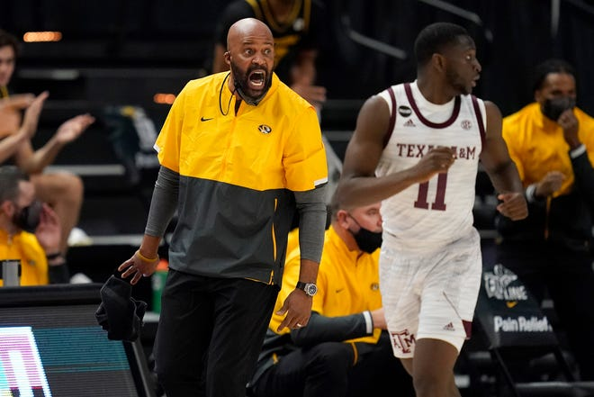Missouri head men's basketball coach Cuonzo Martin reacts during a game against Texas A&M on Jan. 16 in College Station, Texas.