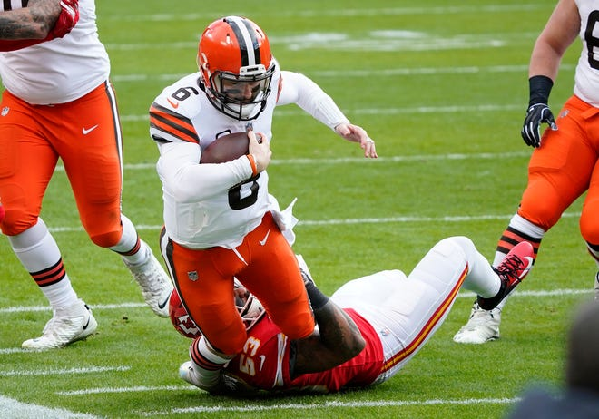 With a solid running game, a quarterback with tools in Baker Mayfield (6) and a excellent game manager in coach Kevin Stefanski, the Browns should be more encouraged than discouraged about their performance against Kansas City on Sunday.