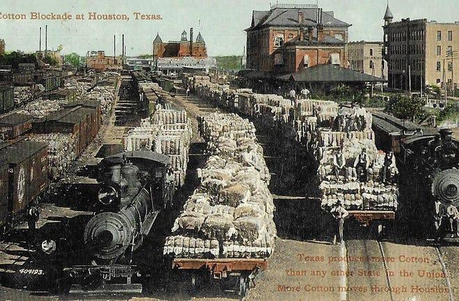 "The ""cotton blockade"" in Houston, Texas around 1909."