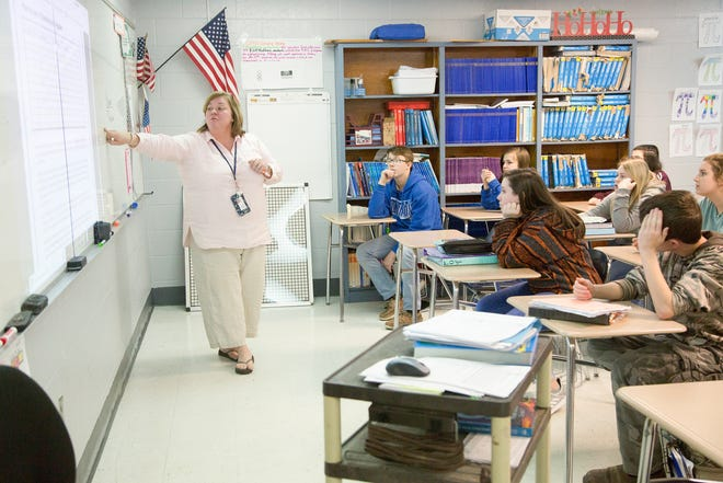 Maury County Public Schools Middle School Teacher of the Year Phyllis Gerlach teaches an enrichment course inside her classroom at Culleoka Unit School on Friday, March 16, 2018.
