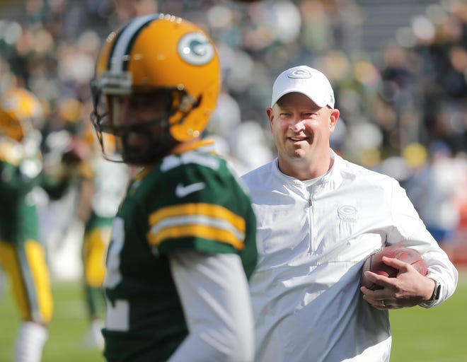 The coaching career of Nathaniel Hackett (R) took a bad turn when the Jaguars fired their offensive coordinator during the 2018 season. Now in the same position with the Green Bay Packers and dialing up plays for quarterback Aaron Rodgers (L), he's two wins away from a Super Bowl ring.