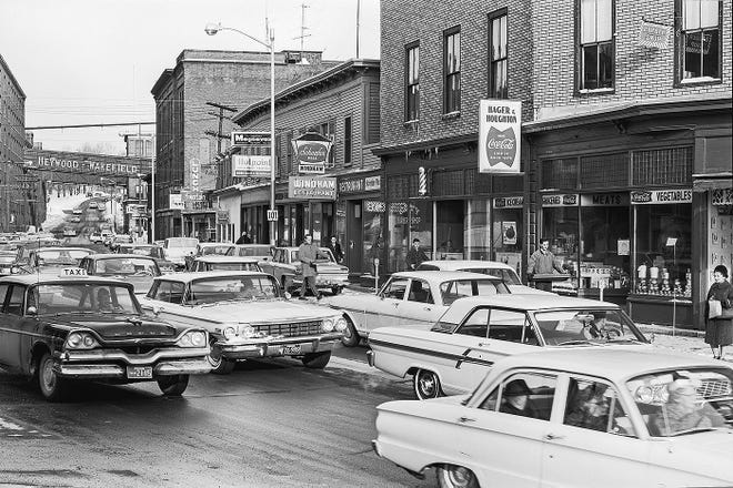 The Hager, Newton, Uptown and Carbone blocks in Gardner as they looked in 1966.