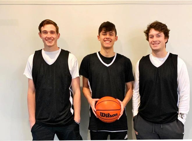 Kade Ariano, left; Kyle Traphagan and P.J. Moser are the three seniors on the G-Town Basketball Team, which is competing in the United Hoops League at the TBK Sports Complex in Bettendorf, Iowa, with games scheduled on Friday nights