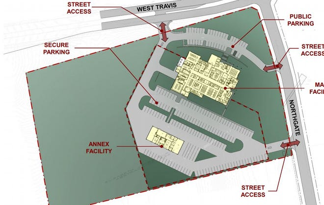 Early concept plans show the proposed layout of the new Sherman Police Station