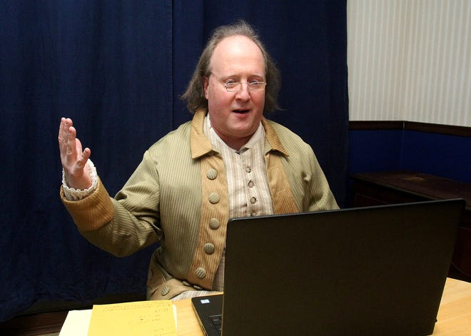 Tim Connors portrays Benjamin Franklin on what would have been Franklin's birthday on Sunday in Freeport.