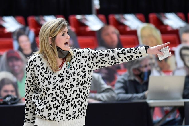 Texas Tech head coach Krista Gerlich reacts on the sideline during the second half of an NCAA college basketball game against Texas in Lubbock, Texas, Sunday, Jan. 17, 2021. (Justin Rex/For A-J Media)