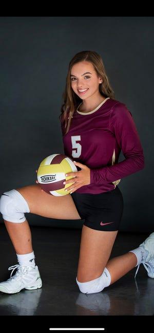 Millbury High School girls' volleyball senior co-captain Lauren Kelly
