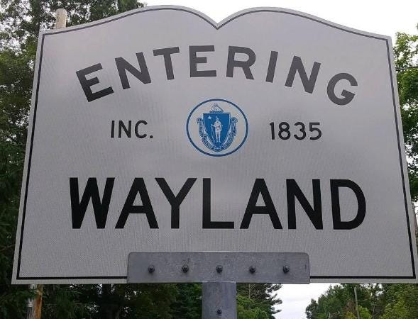 Entering Wayland sign