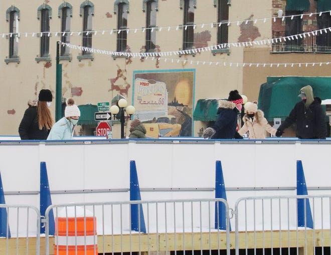 Because of the Martin Luther King holiday, the ice skating rink in downtown Pontiac was a rather popular place to be.