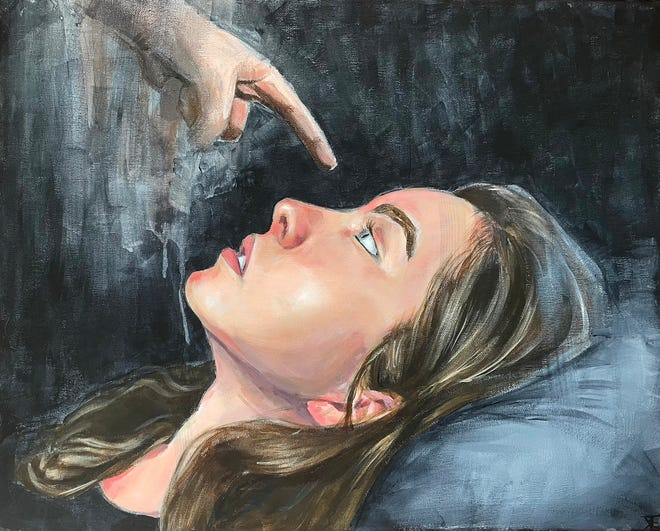 """Portsmouth High School sophomore Emeline Keturakis won a silver key from the Scholastic Art Awards of New Hampshire for her painting titled """"Why."""""""