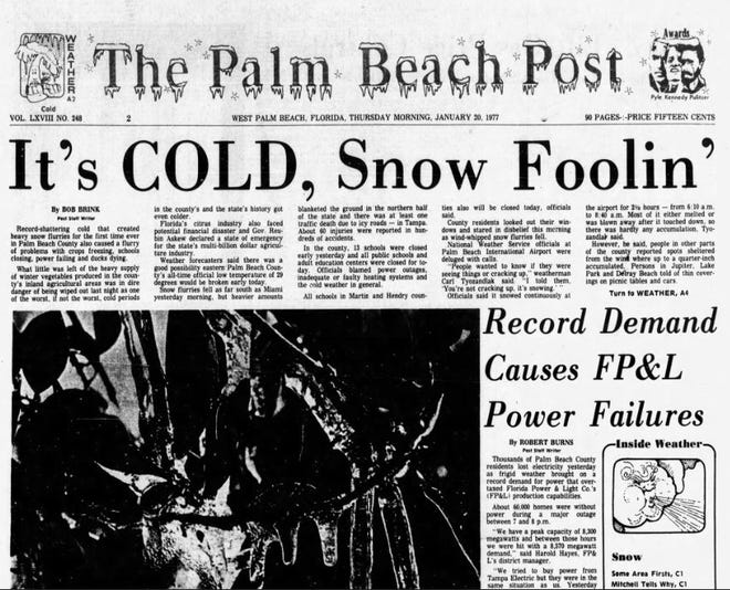 The front page of the Palm Beach Post the day after it snowed on Jan. 19, 1977.