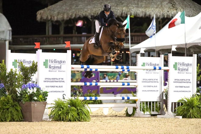 Beezie Madden and Breitling LS won Saturday night's main event of the Winter Equestrian Festival in Wellington.
