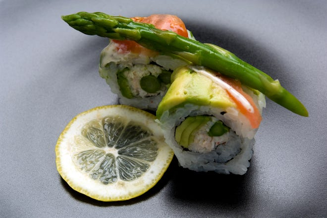 Asparagus sushi from Raw Sushi Bistro in Stockton. This is an example of skim lighting.