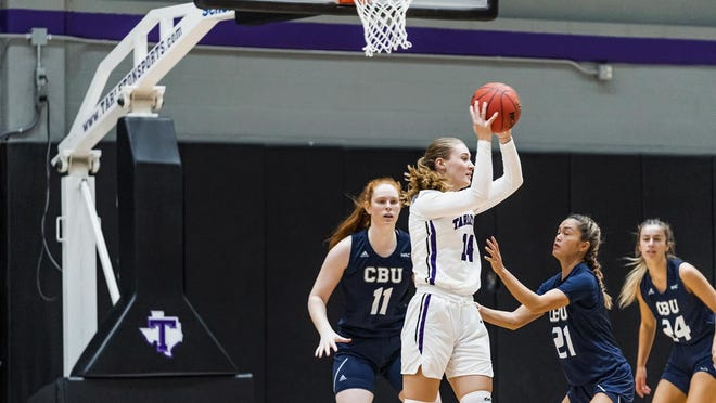 Tarleton forward Callie Boyles grabs a rebound during the Lady Texans 89-66 loss to California Baptist, in a Western Athletic Conference game on Saturday in Wisdom Gym. Boyles ended the game with six boards for TSU.