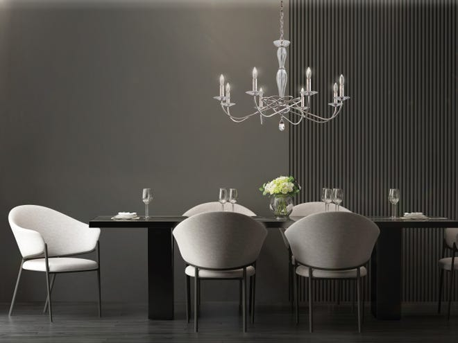 PRETTY ISN'T ENOUGH: When selecting a dining room chandelier, like this new Arabesque model just out from Schonbek, consider not only its size, but also how it works with the room's architecture, with other light fixtures nearby, and with the style of the table it will hang above. (Photo courtesy of Schonbek)