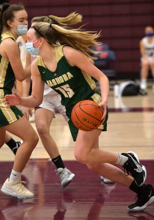Nashoba's Payton Richard drives down the court after a rebound during a game Monday at Westboro.