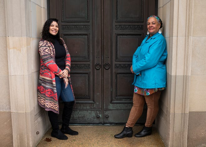 "Susi Ryan and Mallory Shelley are two of the eight Worcester students of the Clemente Course in the Humanities who contributed essays to ""We, Too, Are America."" They are pictured outside Worcester Art Museum Jan. 16."