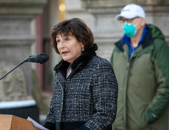 Worcester Health Commissioner, Dr. Matilde Castiel speaks during a recent weekly coronavirus press conference at City Hall. She will help oversee the inoculation of the city's homeless population starting Tuesday.