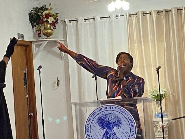 Evangelist Jameka Ellison, a member of Life Point Church of God in Christ in Tampa, delivers a powerful message during a worship service Sunday celebrating the 24th anniversary of TOPROC Church of God in Christ in Gainesville. [Photo by Aida Mallard/For The Guardian]