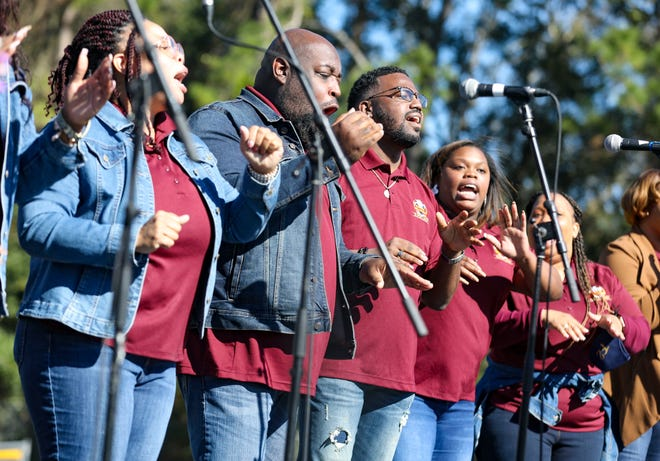 The Florida Fellowship Super Choir performs during Monday's Martin Luther King Jr. national holiday celebration at Citizens Field. [Alan Youngblood/Special to The Sun]