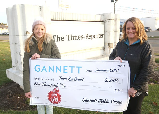 Tara Swihart (right) and her daughter Alexa celebrated a $5,000 prize in the Gannett Media Group's Wish and Win contest.