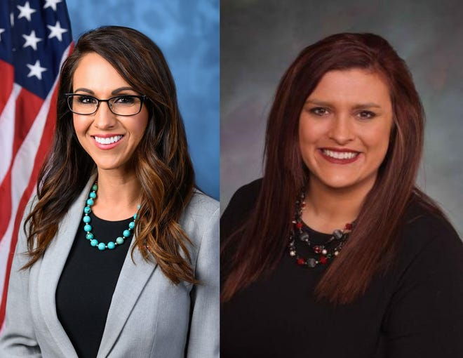 Left, Lauren Boebert poses for her official photo as Colorado District 3 representative; right, Bri Buentello poses for her official photo as district representative of Colorado District 47.