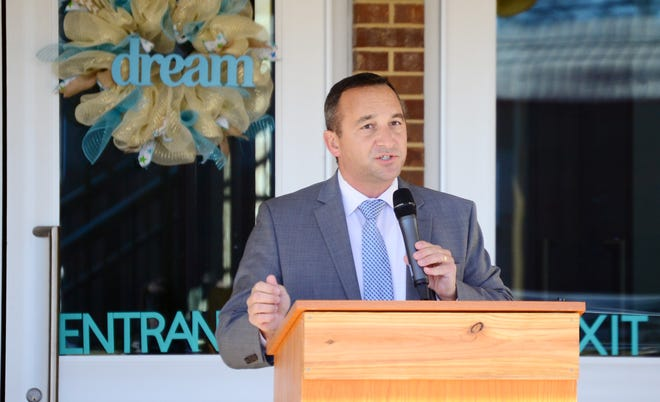 Tuscaloosa City Schools' Superintendent Mike Daria said the system will continue with its current schedule of four days a week of in-person classes for the rest of the 2020-21 year. Daria is shown speaking  during a ribbon-cutting ceremony for Martin Luther King Jr. Elementary School on Jan. 18, 2021.  [Staff file photo]