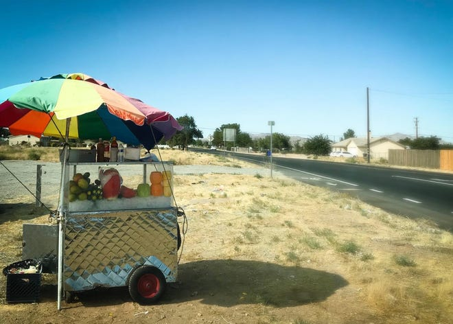 A fruit vending cart is pictured in this undated photo provided by the Town of Apple Valley.