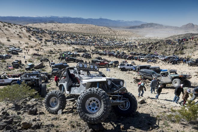 Spectators descend on Johnson Valley in California's Mojave Desert for the annual King of the Hammers off-road racing event in 2019.