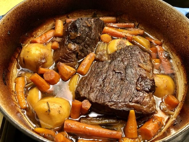 In a classic pot roast, potatoes, carrots, celery and onions braise along with the beef and soak up its flavor.