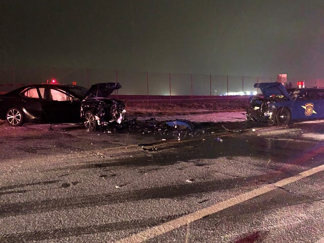 Three people, including a Michigan State Police Trooper were hurt in a Sunday night crash on Columbia Avenue.  (Provided)